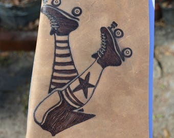 Roller Derby Skater Handmade Leather Journal Free Personalization