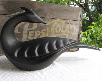 Vintage Mid Century Pottery Bird Black Laurentine Pottery  Canada