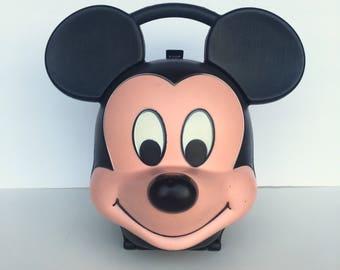 Vintage Aladdin Mickey Mouse Head Shaped Lunch Box Walt Disney Back to School Supplies
