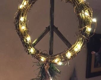 White Lighted LED Peace Sign Christmas Tree Topper, Lighted Peace Sign Tree Topper, Lighted Tree Topper,  Lighted Peace Sign Topper