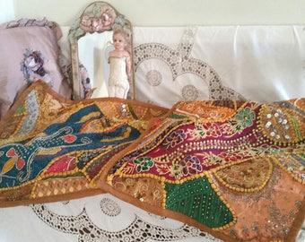 vintage indian table runner, sequins beads, sari pieces, handstitched, indian fabric, EXQUISITE work