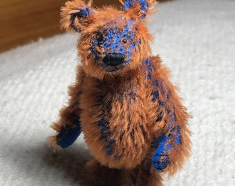 Miniature Hand Sewn 2-3/4in. ROYAL BLUE & COPPER Mohair Teddy Bear by Lori Wright