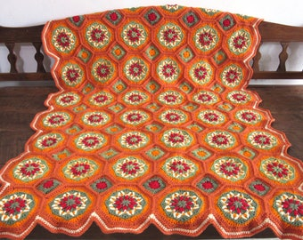 Made to order.Handmade crocheted Thanksgiving fall afghan  / throw / blanket.