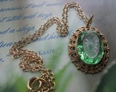 Exquisite 1920's Emerald Glass And Camphor Glass Necklace