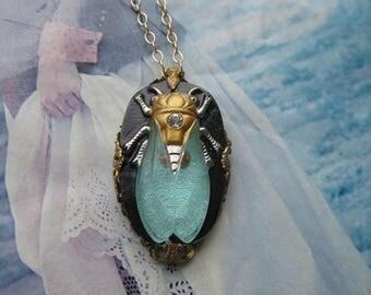 Elegant Glass Cicada Necklace Of Aqua Black And Gold