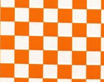 Orange and White Checkerboard Fabric
