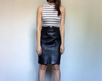 Leather Skirt 80s Clothing Vintage Black Skirt Minimalist Rocker Biker Knee Length Pencil Skirt - Extra Small to Small XS S