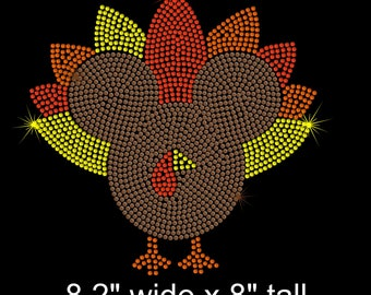 "8.2"" brown Mickey Mouse Turkey iron on rhinestone transfer applique bling Thanksgiving patch"