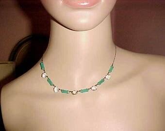Vintage ART DECO Rhinestone Necklace Jade/Jadite Slim Line TIMELESS Elegance