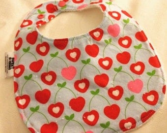 On Sale Cherry Love - Infant or Toddler Bib - Terry Cloth Backing - Reversible with ADJUSTABLE Snaps
