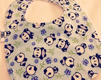 On Sale Pandas - Infant or Toddler Bib - Terry Cloth Backing - Reversible with ADJUSTABLE Snaps