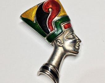 Nefertiti Enamel Vintage Brooch Pin