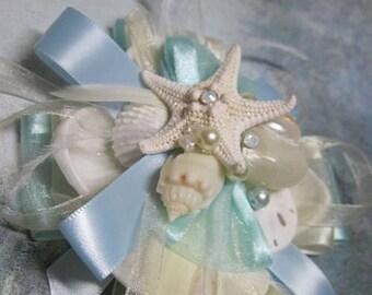 Corsage Wrist with Seashells Wedding Bridal Wristlet in Aqua and Malibu Blue