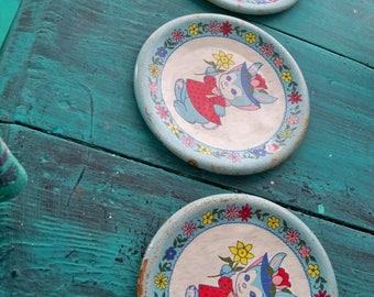 antique bunny childrens plates tin  3 of them