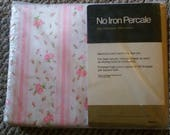 New Vintage  shabby chic full double  flat  bed sheet pink roses soft and sweet