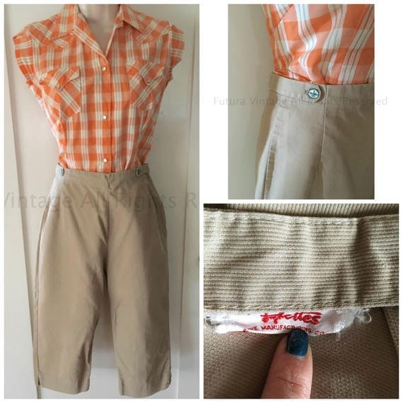 1950s PYKETTES High Waisted Corduroy Pedal Pushers with Adjustable Waist Side Metal Zipper-XS