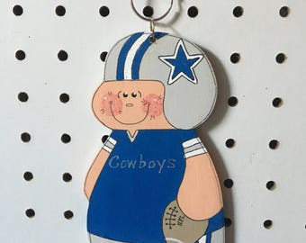 """Unique Dallas Cowboy handmade of wood, hand painted keychain,luggage charm , Christmas ornament 5 3 /4 """"  1/4 inch thick"""