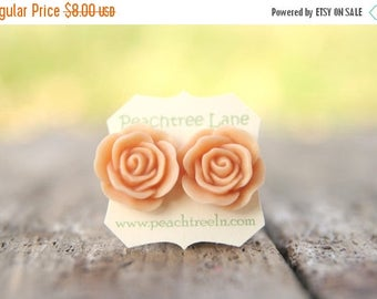 CHRISTMAS in JULY SALE Large Peach Rose Flower Stud Earrings // Bridesmaid Gifts // Outdoor Rustic Wedding // Bridal Shower Gifts