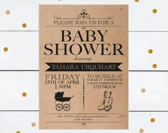 rustic baby shower invitation - printable file - kraft paper teddy bear pram vintage style old fashioned personalised customised victorian