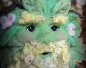 RESERVED - Needle Felted One of a kind Spring Green Man Soft Sculpture by Bella McBride Greenman or Hunky Punk