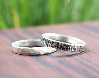 Textured Silver Men's Unisex Ring - Medium Width Hammered Silver Ring
