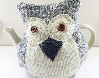 Hand knitted Owl Tea Cosy - Pure Wool and Alpaca mix - Sinead - Large size fits 6-8 cup teapots