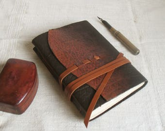 brown journal with vintage style pages, leather journal - Chesnut