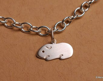 Guinea Pig Charm Bracelet (Smooth Hair) Sterling Silver