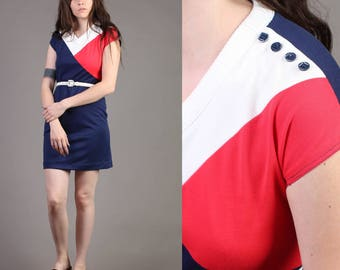 vintage MOD + COLORBLOCK scooter NAUTICAL sailor space age dolly mini dress 70s 1970s extra small small S