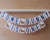 Some Bunny is One Banner - First Birthday - Custom Colors - Spring or Easter Themed Party Decoration or Photo Prop
