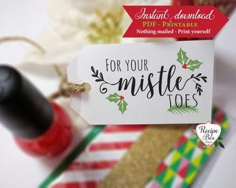 Christmas Tags Printable, For your mistletoes printable nail polish favor tags, manicure tags, Instant download printable tags DIY