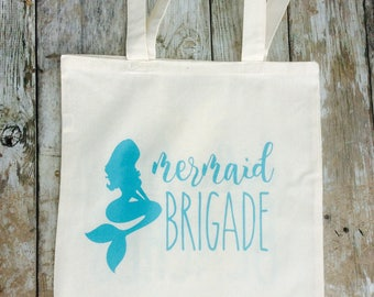 Eco-Friendly Mermaid Brigade - bachelorette Party Gift Reusable Canvas Tote Bag