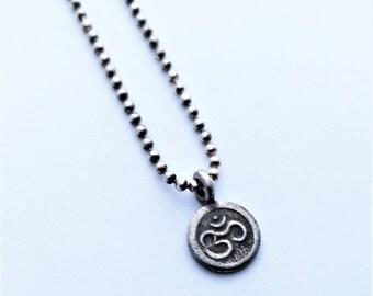 Tiny Ohm Charm Sterling Silver Necklace