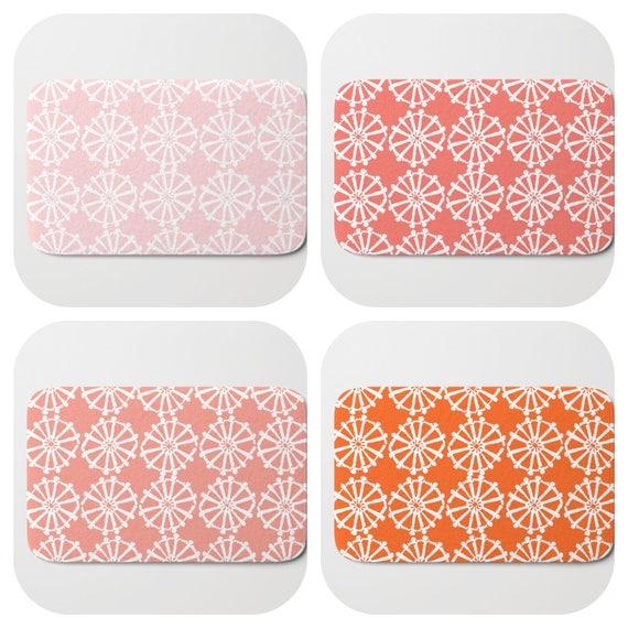 Bath Mat - Blush pink Bath Mat - Orange Bath Mat - Bath Rug - Coral Shower Mat - Wheel Rug - Peach Rug - Pink Memory Foam Mat