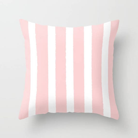 Blush Pink and White Striped Throw Pillow - Rose Pillow - Cushion - Pillow - Pink Striped Pillow - Blush Pink Cushion 16 18 20 24 inch