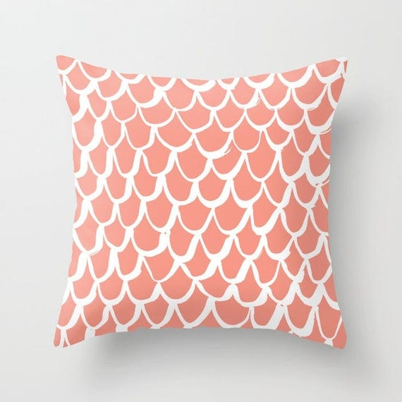 OUTDOOR Throw Pillow . Mermaid Outdoor Pillow . Peach patio cushion . 16 18 20 inch . Apricot Mermaid Outside Pillow . Salmon Outdoor Pillow
