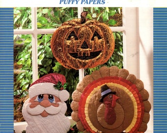 Puffy Papers Jack O Lantern Santa Claus Turkey Easter Bunny Valentine Heart Birthday Cupcake Craft Pattern Leaflet