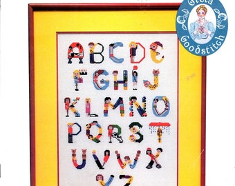 Alphabet Children ABCs One Two Children In the Shape Of Letters Counted Cross Stitch Embroidery Craft Pattern Leaflet 7533