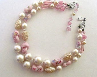 Vintage Japan Two Strand Art Glass & Faux Pearl Necklace