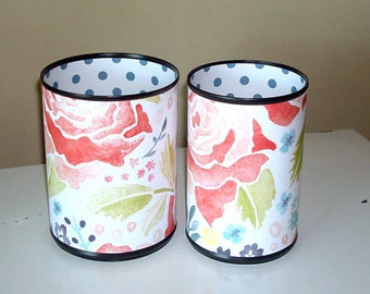 Cute Desk Accessories, Watercolor Floral and Polka Dots Pencil Holder, Make-up Brush Holder, Dorm Office Organization, Coworker Gift - 1000