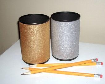 Silver and Gold Glitter Desk Accessories, Bling Pencil Holder, Desk Organization, Office Decor, Glitter Dorm Decor, Makeup Organizer - 1103