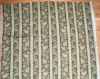 Soft Fabric French Country Kitchen Cream Green Brown Floral Paisley Upholstry Bags Sewing Supply Quilted Fabric Two Sided One Yard Piece