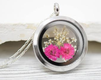925 sterling silver necklace - real dried flowers