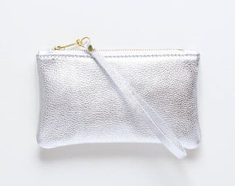 Silver Leather Wristlet, Metallic Leather Clutch, Leather Evening Clutch, Wedding Clutch, Bridal Clutch, Bridesmaid Gift, Wedding Party Gift