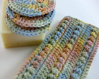 Crochet Spa Washcloth, Face Scrubbie, Eco-Friendly Pads, Makeup Removers, Cotton Washcloth, Bath/Shower Washcloth, Exfoliating Cloth