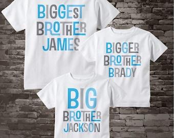 Set of Three - Biggest Brother Shirt - Bigger Brother Shirt - and Big Brother Shirt or Onesie - Pregnancy Announcement 12012015j