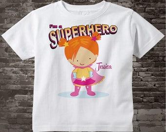 Girl's Personalized Redhead Superhero Child's Tee Shirt or Onesie 04072015c