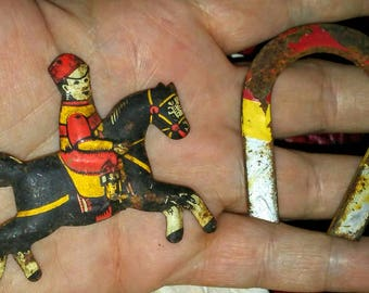Vintage Tin Litho Horse & Rider -Magnet Toys