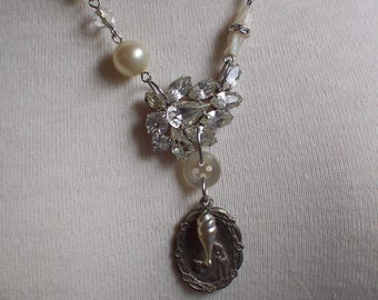 Rhinestone Pearl Mother of Pearl Crystal assemblage necklace by ceeceedesigns on etsy