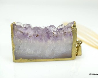Amethyst Druzy Slab Necklace, Gold Necklace, Drusy Pendant, Druzy Jewelry, Gold Chain, Raw Gemstone Pendant, Purple Necklace, Gift under 130